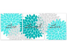 Home Decor Wall Art Live Laugh Love Coral Wall by WallArtBoutique