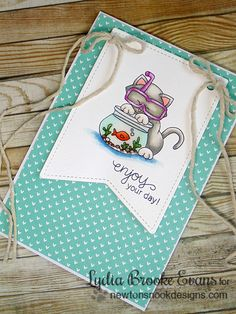Kitty fishbowl card by Lydia Brooke using Newton's Summer Vacation Cat Stamp set by Newton's Nook Designs