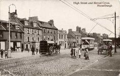 Postcard by Valentine - Musselburgh High Street and Mercat Cross, 1905 Old Photographs, Photos, Visit Edinburgh, My Heritage, Black And White Photography, Scotland, Street View, Football, History