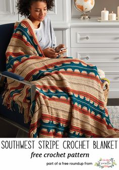 Crochet this easy southwest stripe afghan blanket throw with fringe from my 12 coziest crochet afghans free pattern roundup!