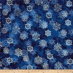 Bali Handpaints Batiks Snowflakes Tahiti from @fabricdotcom  Designed for Hoffman International Fabrics, this Indonesian batik is perfect for quilting, craft projects, apparel and home décor accents. Colors include shades of blue.