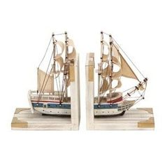 "Nautical Sailboat Bookend 9""h, 6""w Wood Book Ends"