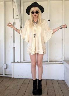 Baby doll dress with black accessories x | Grunge Fashion †