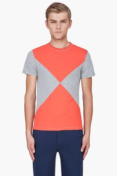 OPENING CEREMONY Red Combo Block Print T-Shirt