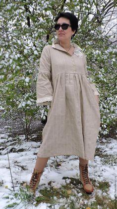 Купить БОХО платье. - бежевый, в полоску, бохо, в стиле бохо, платье большого размера