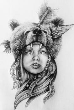 Realistic Drawing Patterns Next tattoo Bear Tattoos, Animal Tattoos, Body Art Tattoos, Sleeve Tattoos, Native American Drawing, Native American Tattoos, Tattoo Sketches, Tattoo Drawings, Guerrero Tattoo