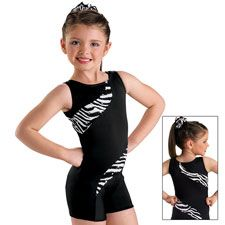 Trinity needs new gymnastic leotards. Who doesn't love Zebra!?!?