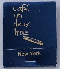 Café un deux trois, NYC 20 stem #matchbook - - To order your Business' own Branded #matchbooks or #matchboxes GoTo: www.GetMatches.com or CALL 800.605.7331 TODAY!