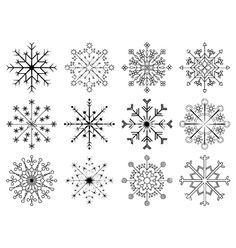 Snowflakes set vector image on VectorStock Winter Tattoo, Snowflake Photography, Snowflake Template, Snow Flake Tattoo, Yarn Thread, Flower Doodles, Bullet Journal Inspiration, Pattern Drawing, Henna Designs