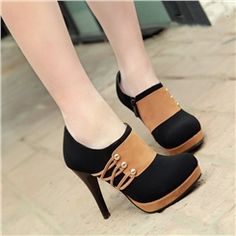 New Winter Color Blocks Commuter Women's High-heel Ankle Boots