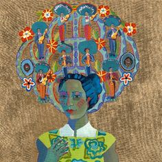 """The Prints of Mexico~Kathy Sosa's  """"Mariachis on My Mind"""" part of her newest series of paintings, which interpret the traditional Tree of Life in contemporary ways. Sosa says they """"depict women with trees of life growing out of their heads, or … balancing trees of life on their heads. Each tree of life incorporates a set of thematic figures that represent what the woman is thinking, or obsessing about at the imagined moment."""""""
