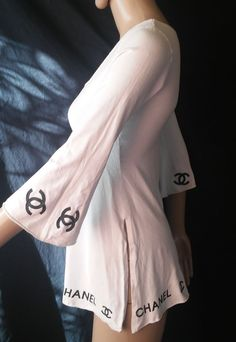 Chanel  Women's White Logo  Tunic Top Shirt SZ XS #CHANEL #Tunic