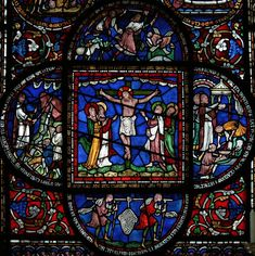 Suffered under Pontius Pilate, was crucified, died, and was buried - Apostles Creed Medieval Stained Glass, Stained Glass Church, Stained Glass Art, Stained Glass Windows, Mosaic Glass, Leaded Glass, Mosaic Tiles, Apostles Creed, Canterbury Cathedral
