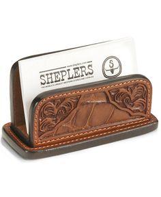 Floral Leather Business Card Holder