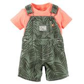 Cute and convenient in a 2-piece set, these canvas shortalls and neon tee pair up for a perfect playtime outfit.
