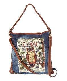 Blue & Brown Be Wise Shoulder Bag   zulily  #streetstyle #owl