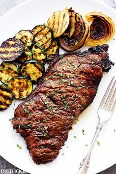 Jack Daniel's Grilled Steak -- New York Strip Steaks marinated in one of the most delicious marinades. made with Jack Daniel's Whiskey and Soy Sauce. Our favorite steak house meal made at home! Steak Dinner Recipes, Pork Rib Recipes, Healthy Grilling Recipes, Grilled Steak Recipes, Cooking Recipes, Grilled Steaks, Steak Dinners, Grilled Veggies, Grilled Meat