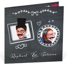 """Faire part mariage humoristique sur le thème du """"photobooth"""" pour exprimer toute votre créativité et votre auto-dérision, ref N45143"""