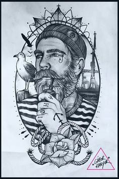 awesome Tattoo Trends - Gabor kanyuk tattoo designs ideas männer männer ideen old school quotes sketches Marine Tattoos, Navy Tattoos, Cool Tattoos, Old Sailor Tattoos, Kunst Tattoos, Bild Tattoos, Cute Drawings, Tattoo Drawings, Fisherman Tattoo
