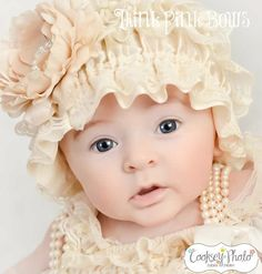 Vintage inspired  cream petti lace hat baby girl by ThinkPinkBows