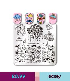 Nail Art Accessories Born Pretty Square Nail Art Stamping Plate Dreamy Umbrella Cute Rain Cloud Image #ebay #Fashion