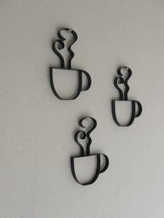 "Coffee Metal Wall Art 12"" x 6"" bistro coffee sign with mug- metal wall decor black or"