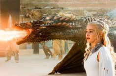Emilia Clarke and a dragon on Game of Thrones.