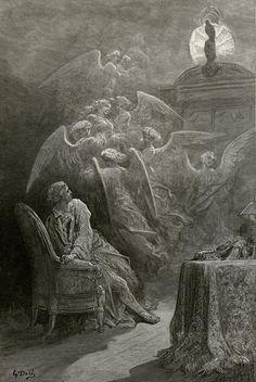 """Gustave Doré - Gravure sur bois de 1883 pour """"Le corbeau"""" (The Raven), un poème narratif d'Edgar Poe. D'une grande musicalité, et à l'atmosphère irréelle, obéissant à une métrique stricte, le poème raconte l'histoire d'une mystérieuse visite que reçoit le narrateur, qui se lamente sur la mort de son amour, Lenore. Un corbeau perché en haut de sa porte, répète inlassablement """"Jamais plus"""". La répétition de ces mots plonge le narrateur dans un désarroi si fort qu'il sombre dans la folie."""