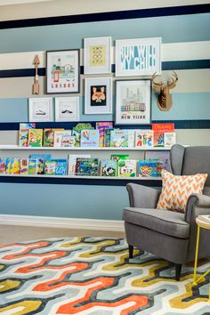 This reverse chevron rug makes such a bold impact in this big boy room!