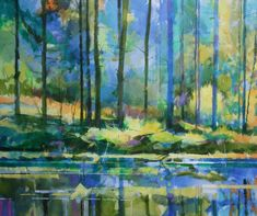 Meadowcliff Pond acrylic on canvas semi abstract landscape painting 120 x 100cm Ref: 013-008