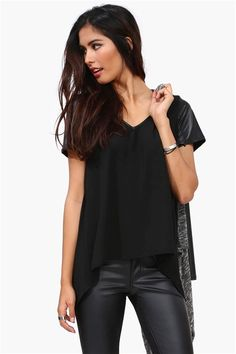 Chiffon Tee and leather leggings