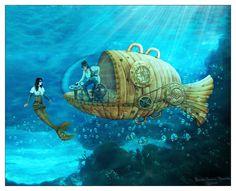 Artwork on steampunk - DeviantArt What Is Steampunk, Steampunk Kunst, Jules Verne, Nautilus, Dirigible Steampunk, Mermaid Pictures, Mermaid Pics, Fantasy Literature, Leagues Under The Sea