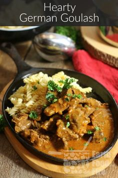 From Scratch German Goulash. Slowly stewed this hearty dish is the definition of comfort food! Learn how to make this authentic German Goulash from scratch yourself. Goulash Recipes, Meat Recipes, Cooking Recipes, Fodmap Recipes, Beef Dishes, Food Dishes, Side Dishes, Easy German Recipes, German Recipes