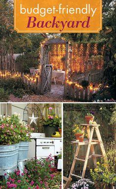 Design a budget-friendly backyard: Looking for budget-friendly garden ideas? We'll show you four ways to save money on backyard projects. Backyard Projects, Outdoor Projects, Garden Projects, Outdoor Ideas, Garden Ideas, Garden Oasis, Summer Garden, Backyard Landscaping, Backyard Bbq