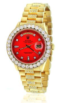 DIAMOND PRESIDENTIAL ROLEX 18038 SINGLE QUICKSET RED DIAL 18K YELLOW GOLD WATCH
