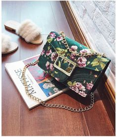 Glam shoulder and crossbody bag features large flap closure, chain strap and made with soft floral pattern velvet. Main Material: Velour Lining Material: Polyester Interior: Cell phone pocket and zip pocket Size: 22 x 14 x 6 cm Crossbody Bag, Velvet, Shoulder Bag, Floral, Bags, Collection, Fashion, Handbags, Moda