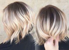 balayage-ombré-blond-clair cheveux courts carré plongeant