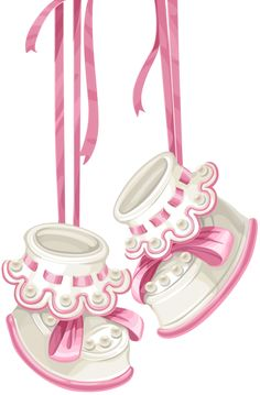 Baby shower card with pink booties and lace [преобразованный].png