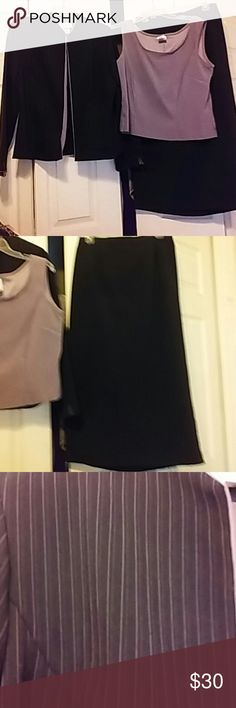 BEAUTIFUL 3 pc SKIRT SUIT EUC SIZE 14 Miss Dorby 3 piece skit suit , worn once , Jacket, sleeveless top, has velour feel, skirt is 34 inches long, Jacket and skirt have pin strips the same as top , a lavender color , THIS IS LIKE BRAND NEW , 97 % polyester,  3% spandex Miss Dorby Other