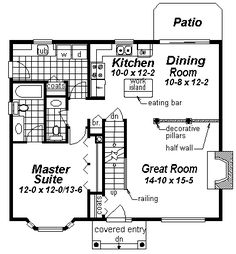 First Floor Plan of Cape Cod   Narrow Lot   House Plan 98895