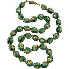 Venetian Green, Yellow and Red Millefiori Glass Bead Necklace -- found at www.rubylane.com #vintagebeginshere