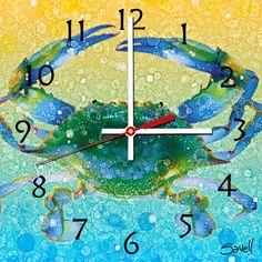 Crab Clock Blue Crab 8x8 by SavellStudioArtKlock on Etsy, $24.95