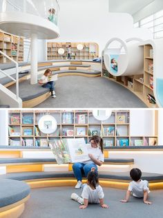 This quiet room at a children's play center has a with a library of books, where the children can sit and read by themselves, or with an adult. Tiered seating and various reading nooks create unique spaces for reading and storytelling. Library Architecture, School Architecture, Interior Architecture, Classroom Architecture, Kindergarten Interior, Kindergarten Design, Childrens Play Centre, School Library Design, Kids Library