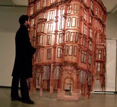 fiber art installation; in a miniature scale I think it would make a really great hanging lamp.