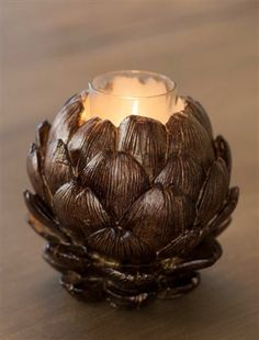 Brown Artichoke Candle Holder. Rustic elegance. Christmas Scents, Christmas Candles, Holiday Decorating, Decorating Ideas, Balsam Hill, Flameless Candles, Rustic Elegance, Artichoke, Candle Holders