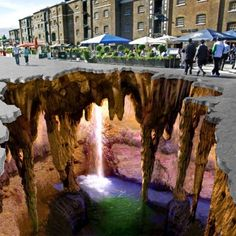 Amazing 3D Pavement Art!  ~I could not walk across this!
