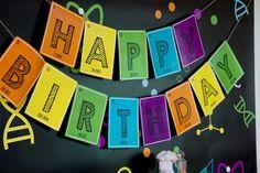 Modern Scientist Birthday Banner via Pretty My Party Happy Birthday Banners, Birthday Party Themes, 5th Birthday, Birthday Ideas, Mad Scientist Party, Science Party, Mad Science, Party Signs, Party Printables