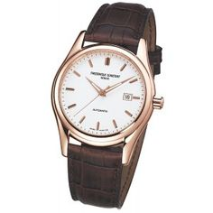 Frederique Constant Mens Index Collection Watch with Brown Crococalf Strap and White Dial