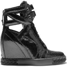 Casadei Sneakers ($740) ❤ liked on Polyvore featuring shoes, sneakers, black, black high tops, black hidden wedge sneakers, snake print shoes, hi tops and hidden wedge sneakers