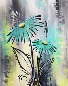 Whimsical Blue Gerbera at Saffron's - Paint Nite Events near Winnipeg, manitoba>